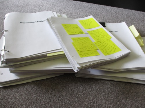 Just a few of the many, many printed drafts that I gave readers. I can't even tell you how many electronic drafts I have.