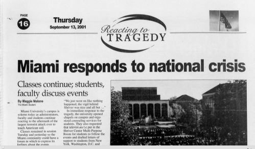 Miami's student newspaper, two days after the attacks