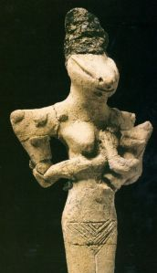 Mother goddess Nammu, snake head Goddess figure, feeding her baby - terracotta, about 5000-4000 BC, Ubaid period before the Sumerians