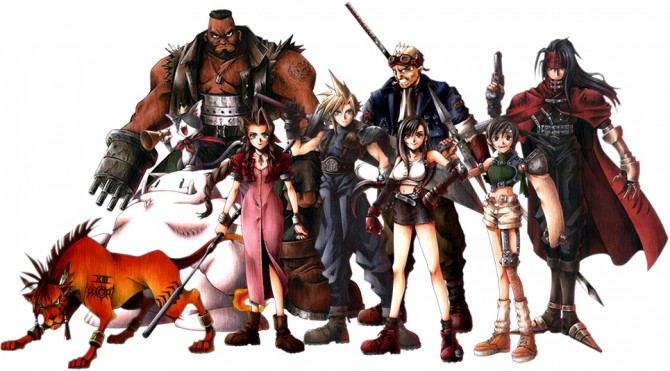 Final Fantasy VII Characters: Red XIII, Barrett, Cait Sith, Aeris, Cloud, Tifa, Cid, Vincent, and Yuffie.